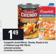 Campbell's Broth 900 Ml - Chunky - Ready To Eat Or Habitant Soup 540-796 Ml