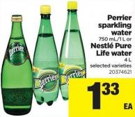 Perrier Sparkling Water 750 Ml/1 L Or Nestlé Pure Life Water 4 L
