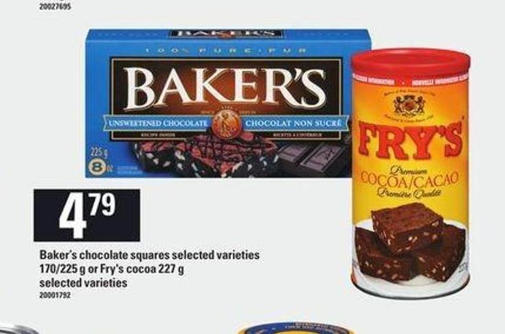 Baker's Chocolate Squares - 170/225 G Or Fry's Cocoa - 227 G
