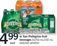 Perrier Sparkling Water - 10x250 Ml/6x500 Ml Or San Pellegrino Fruit Beverages - 6x250 Ml/330 Ml
