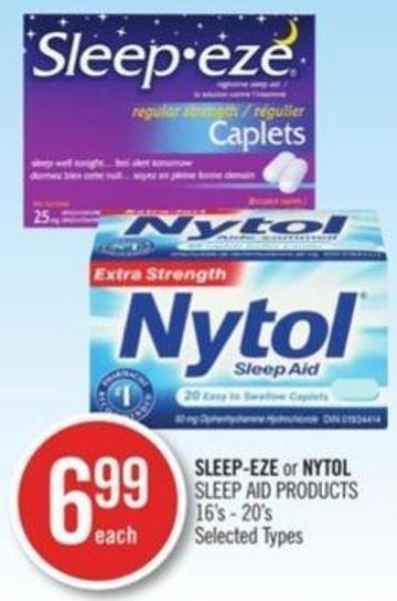 Sleep-eze or Nytol Sleep Aid Products 16's-20's