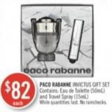 Paco Rabanne Invictus Gift Set Contains: Eau De Toilette (50ml) and Travel Spray (15ml)