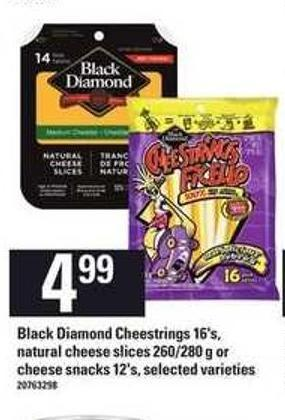 Black Diamond Cheestrings - 16's - Natural Cheese Slices - 260/280 g Or Cheese Snacks - 12's