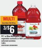 PC Or Blue Menu Fruit Or Vegetable Cocktails Or 100% Juice Blends - 1.89 L