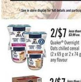 Quaker Overnight Oats Chilled Cereal - 2 X 69 G Or 2 X 74 G