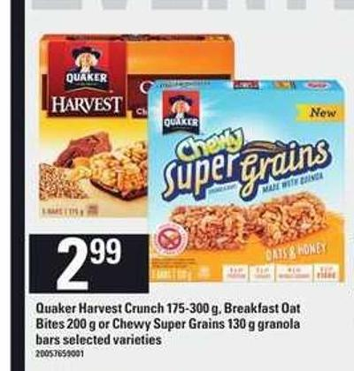 Quaker Harvest Crunch 175-300 G - Breakfast Oat Bites 200 G Or Chewy Super Grains 130 G Granola Bars