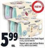 Riviera Lactose Free Greek Yogurt