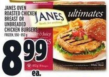 Janes Oven Roasted Chicken Breast Or Unbreaded Chicken Burgers