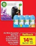 Air Wick Essential Mist Kits - 5-pack Plug-in Scented Oils or 4-pack Battery Spray Refills