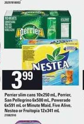 Perrier Slim Cans - 10x250 Ml - Perrier - San Pellegrino 6x500 Ml - Powerade - 6x591 Ml Or Minute Maid - Five Alive - Nestea Or Fruitopia - 12x341 Ml