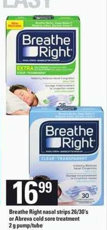 Breathe Right Nasal Strips - 26/30's Or Abreva Cold Sore Treatment - 2 G Pump/tube