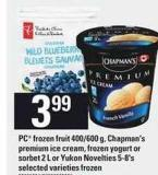 PC Frozen Fruit 400-600 G - Chapman's Premium Ice Cream - Frozen Yogurt Or Sorbet 2 L Or Yukon Novelties 5-8's