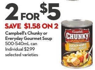 Campbell's Chunky or Everyday Gourmet Soup