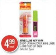 Maybelline New York  Great Lash Mascara - Kohl Liner or Baby Lips Lip Balm