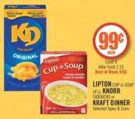 Lipton Cup-a-soup (4's) - Knorr Sidekicks or Kraft Dinner