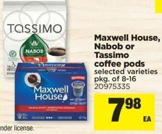 Maxwell House - Nabob Or Tassimo Coffee PODS - Pkg Of 8-16