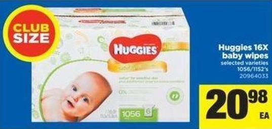 Huggies 16x Baby Wipes - 1056/1152's