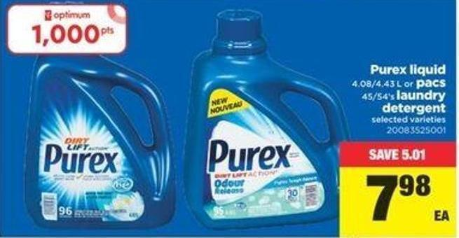 Purex Liquid - 4.08/4.43 L Or Pacs - 45/54's Laundry Detergent
