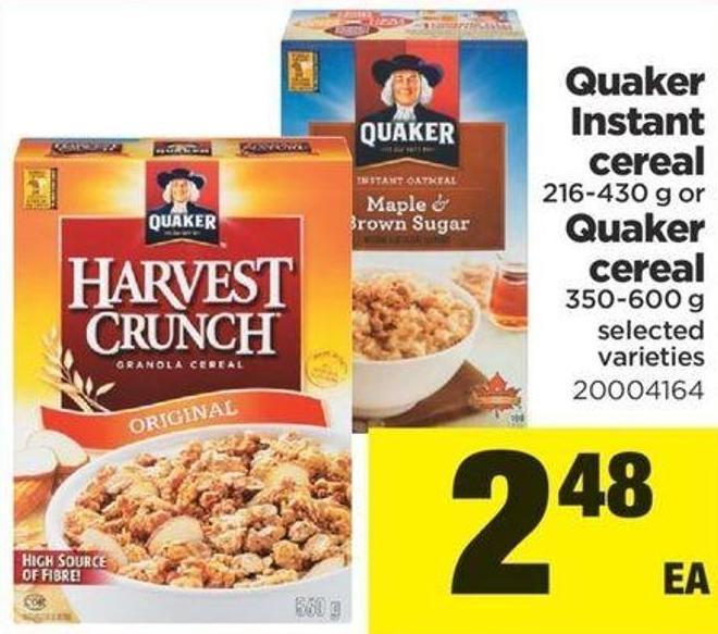 Quaker Instant Cereal - 216-430 G Or Quaker Cereal - 350-600 G