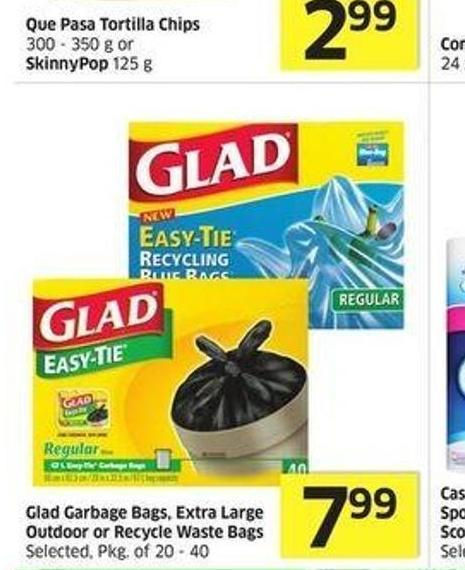 Glad Garbage Bags - Extra Large Outdoor or Recycle Waste Bags Selected.