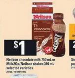 Neilson Chocolate Milk 750 Ml Or Milk2go/neilson Shakes 310 Ml