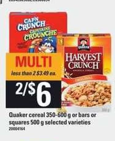 Quaker Cereal - 350-600 g Or Bars Or Squares - 500 g