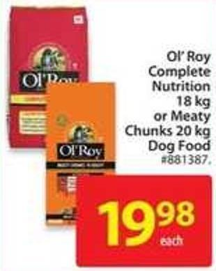 Ol' Roy Complete Nutrition 18 Kg or Meaty Chunks 20 Kg Dog Food