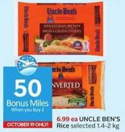 Uncle Ben's Rice - 50 Air Miles Bonus Miles