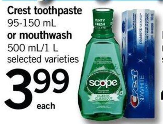 Crest Toothpaste - 95-150 Ml Or Mouthwash - 500 Ml/1 L