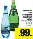 Perrier Or San Pellegrino Sparkling Water - 750 Ml/1 L
