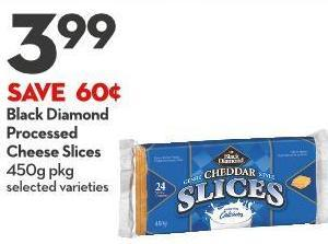 Black Diamond  Processed  Cheese Slices 450g Pkg