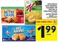 Kellogg's Rice Krispies Squares Or Special K Cracker Chips Or Nutri Grain Bars