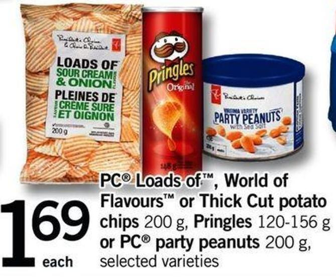 PC Loads Of - World Of Flavours Or Thick Cut Potato Chips - 200 G - Pringles - 120-156 G Or PC Party Peanuts - 200 G