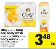 Olay - 4x90 g Soap Bar - Body Wash - 400 mL Or Ivory - 8's Or Body Wash - 621 mL