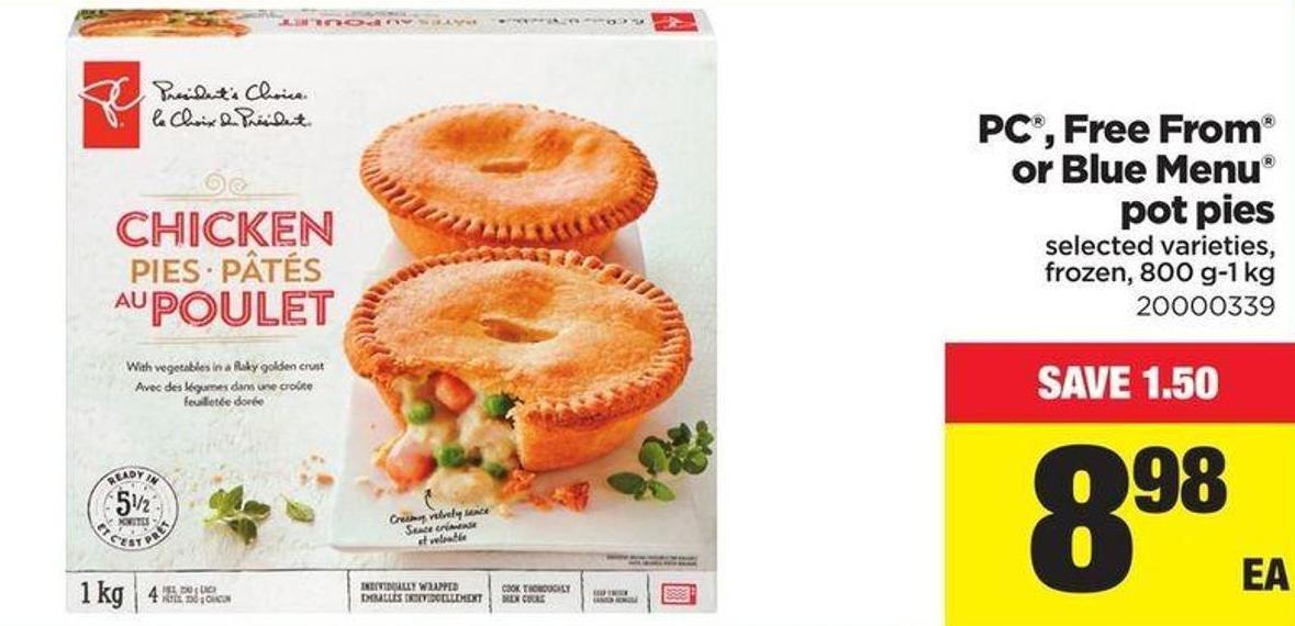 PC - Free From Or Blue Menu Pot Pies - 800 G-1 Kg