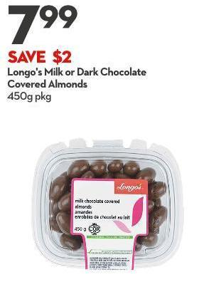 Longo's Milk or Dark Chocolate Covered Almonds 450g Pkg