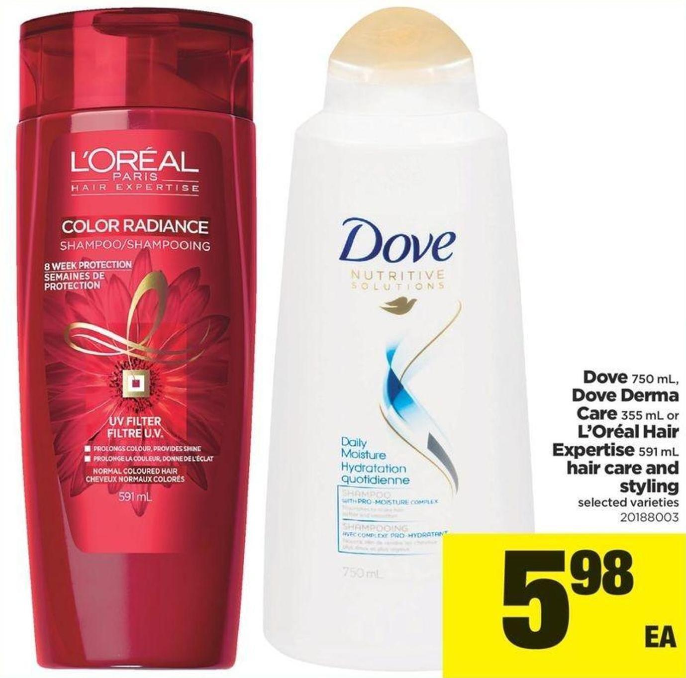 Dove - 750 Ml - Dove Derma Care - 355 Ml Or L'oréal Hair Expertise - 591 Ml Hair Care And Styling