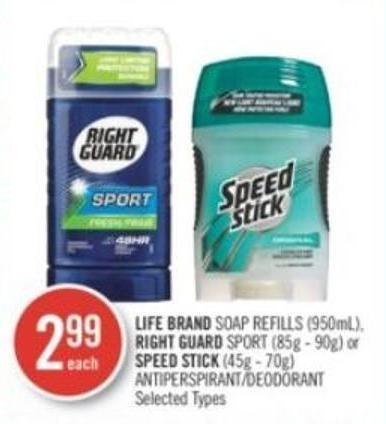 Life Brand Soap Refills (950ml) - Right Guard Sport (85g - 90g) or Speed Stick (45g - 70g) Deodorant