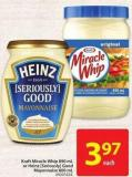 Kraft Miracle Whip 890 mL or Heinz (Seriously) Good Mayonnaise 800 mL