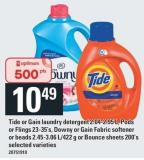 Tide Or Gain Laundry Detergent - 2.04-2.95 L - PODS Or Flings - 23-35's - Downy Or Gain Fabric Softener Or Beads - 2.45-3.06 L/422 g Or Bounce Sheets - 200's