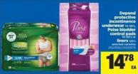 Depend Protective Incontinence Underwear - 10-58's - Poise Bladder Control Pads - 10-66's Or Liners - 126's