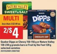 Quaker Dipps Or Chewy 150-156 G Or Nature Valley 130-230 G Granola Bars Or Fruit By The Foot 128 G