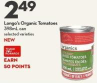 Longo's Organic Tomatoes  398ml Can