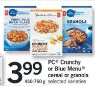 PC Crunchy Or Blue Menu Cereal Or Granola - 450-750 G