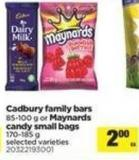 Cadbury Family Bars - 85-100 g Or Maynards Candy Small Bags - 170-185 g