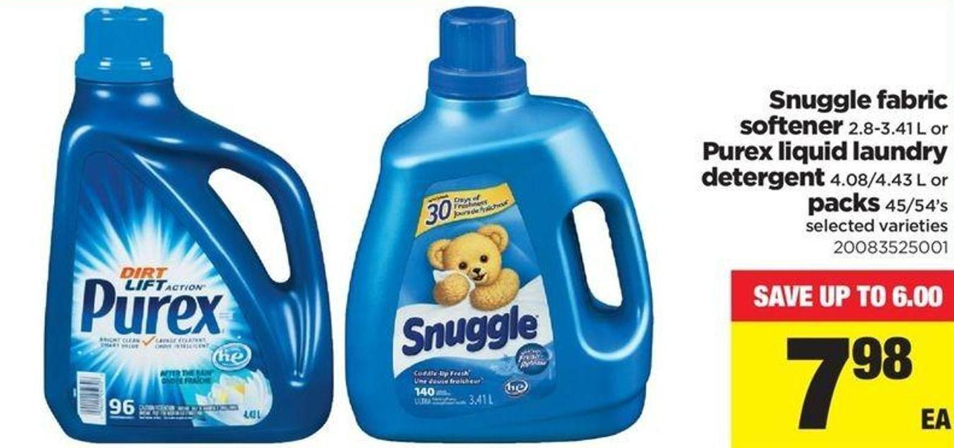 Snuggle Fabric Softener - 2.8-3.41 L Or Purex Liquid Laundry Detergent - 4.08/4.43 L Or Packs - 45/54's