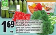 Grape Tomatoes 283 G - Product Of Canada Or Mexico Mini Cucumbers 397 G - Product Of Ontario - Canada No. 1 Grade Mini Sweet Peppers 227 G - Product Of Ontario Or Mexico Jumbo Broccoli Product Of U.S.A.