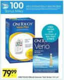 Onetouch Blood Glucose Test Strips - 100 Air Miles Bonus Miles