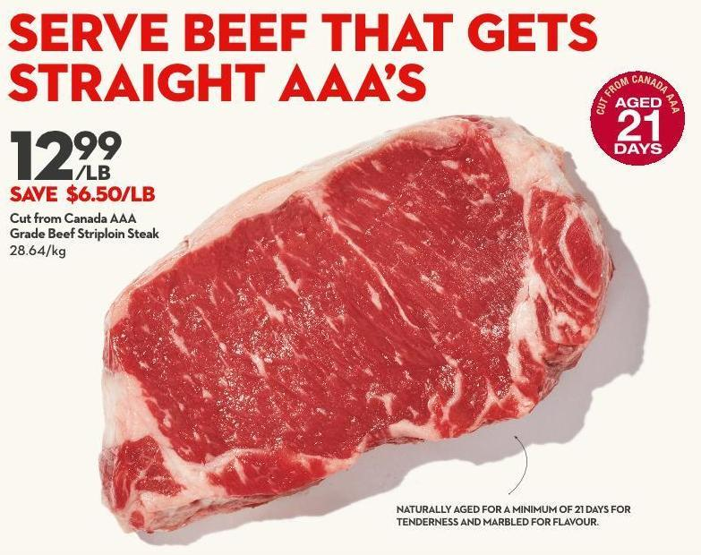 Cut From Canada Aaa Grade Beef Striploin Steak