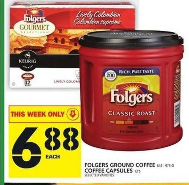 Folgers Ground Coffee Or Coffee Capsules